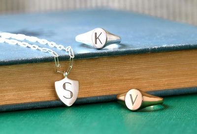 Newly added engraved styles - deco letter shield and ring