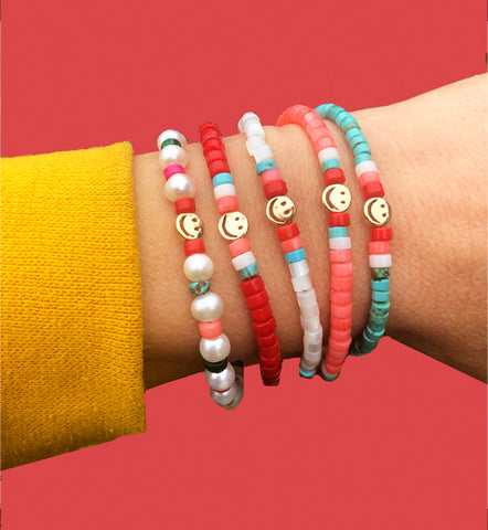 Heishi Beaded Bracelets with Smiley Face