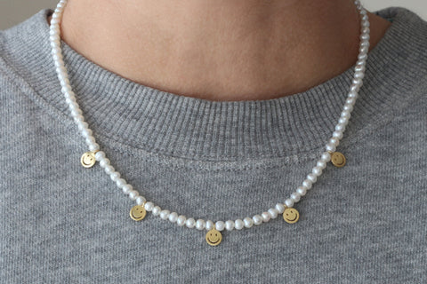Pearl Necklace with Smiley Bead Charm