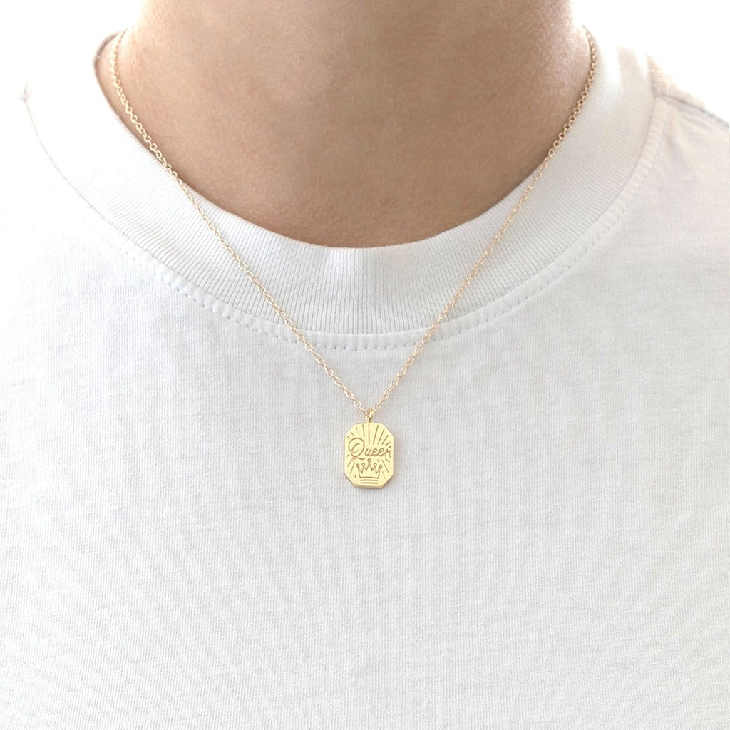 Queen Dog Tag Charm Necklace
