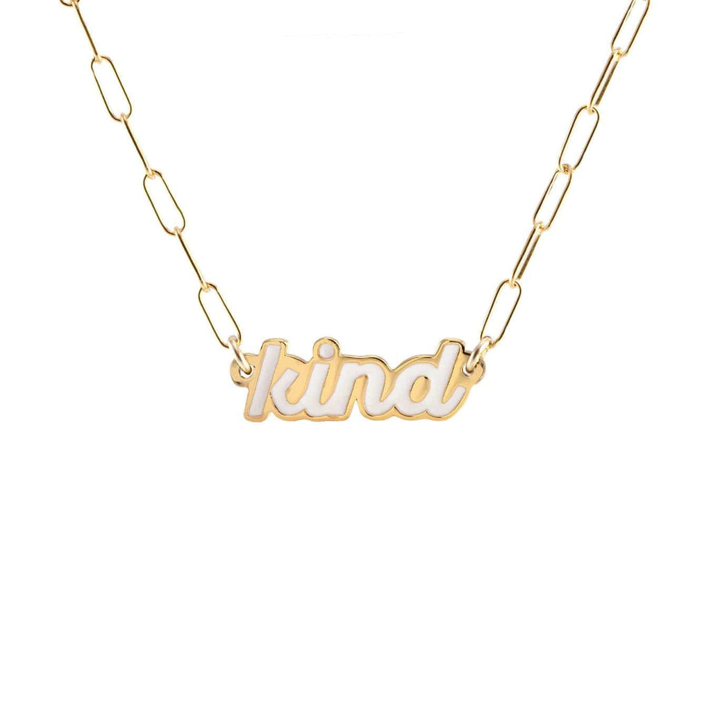 Kind Enamel Charm Necklace