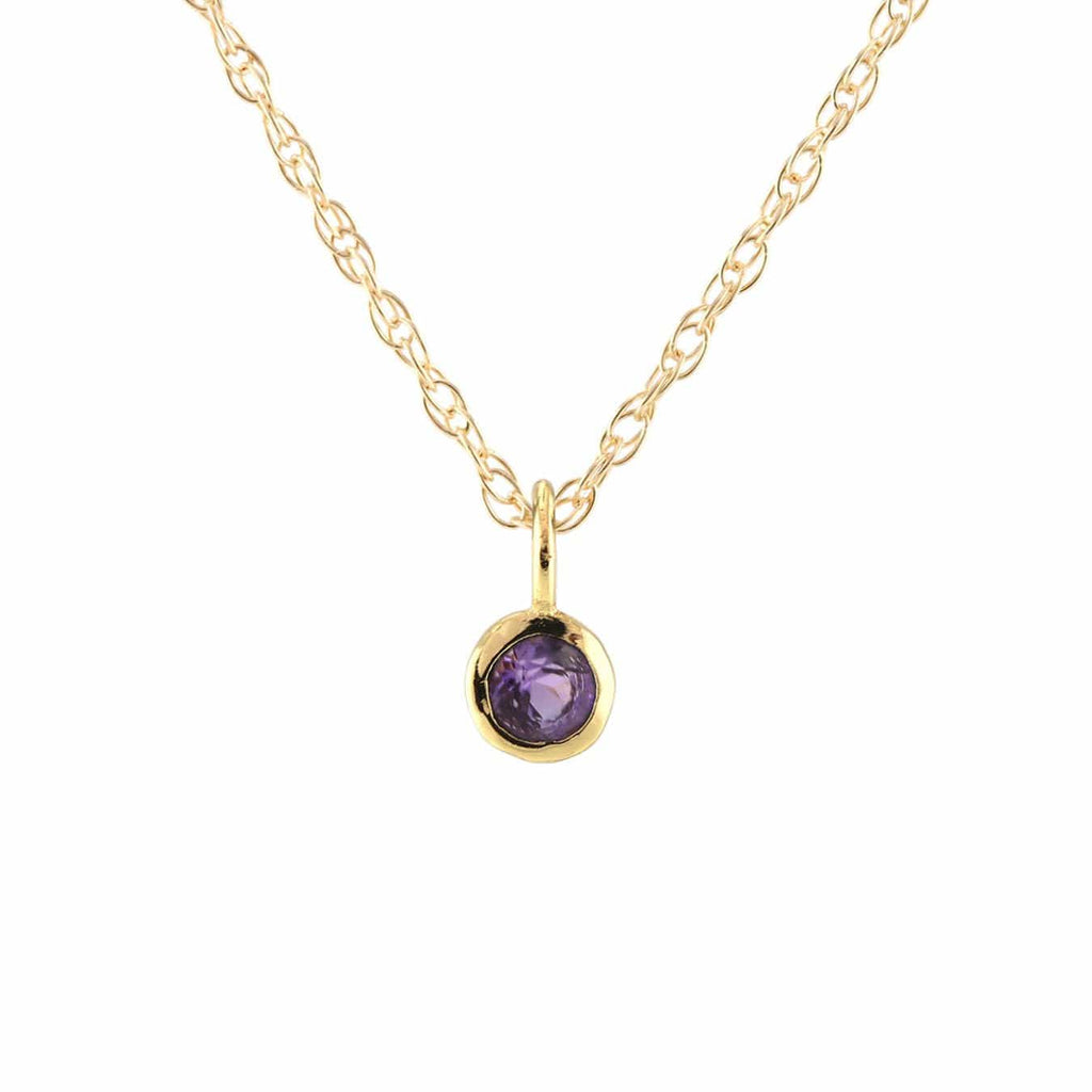 Amethyst Gemstone Charm Necklace - February Birthstone