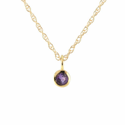 Amethyst Gemstone Charm Necklace - February Birthstone 18K Gold Vermeil