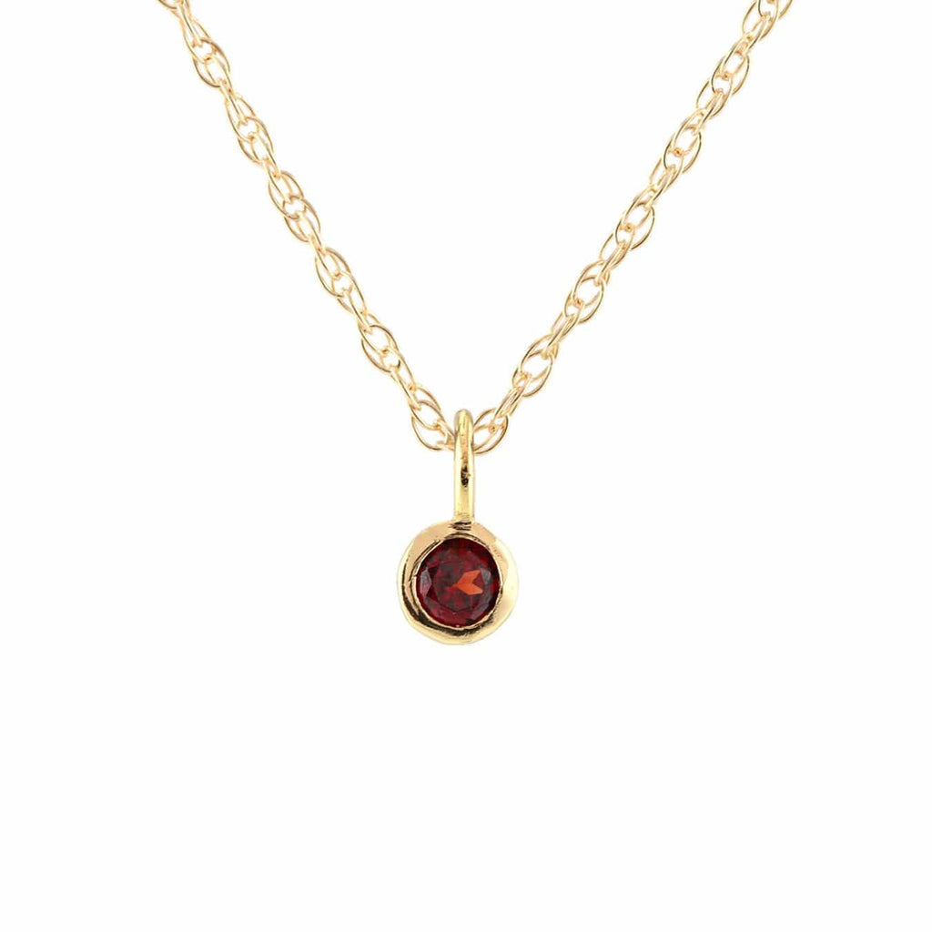 Garnet Gemstone Charm Necklace - January Birthstone