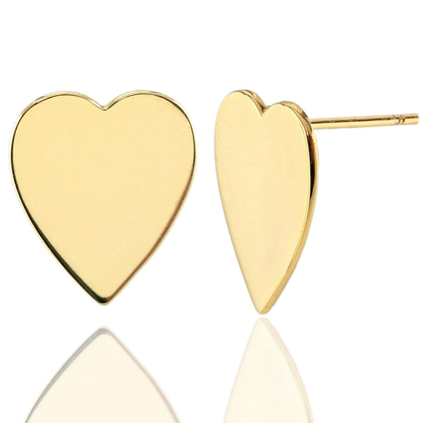 Gold Vermeil Heart Earrings on model