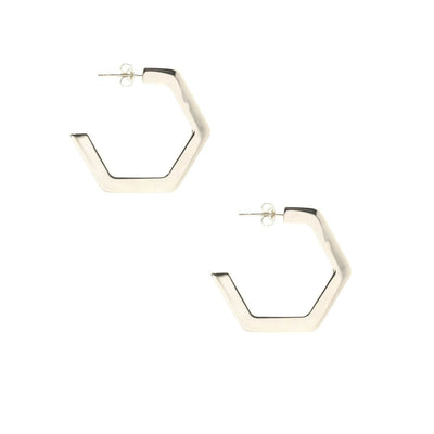 Hexagon Hoop Earrings Medium Sterling Silver