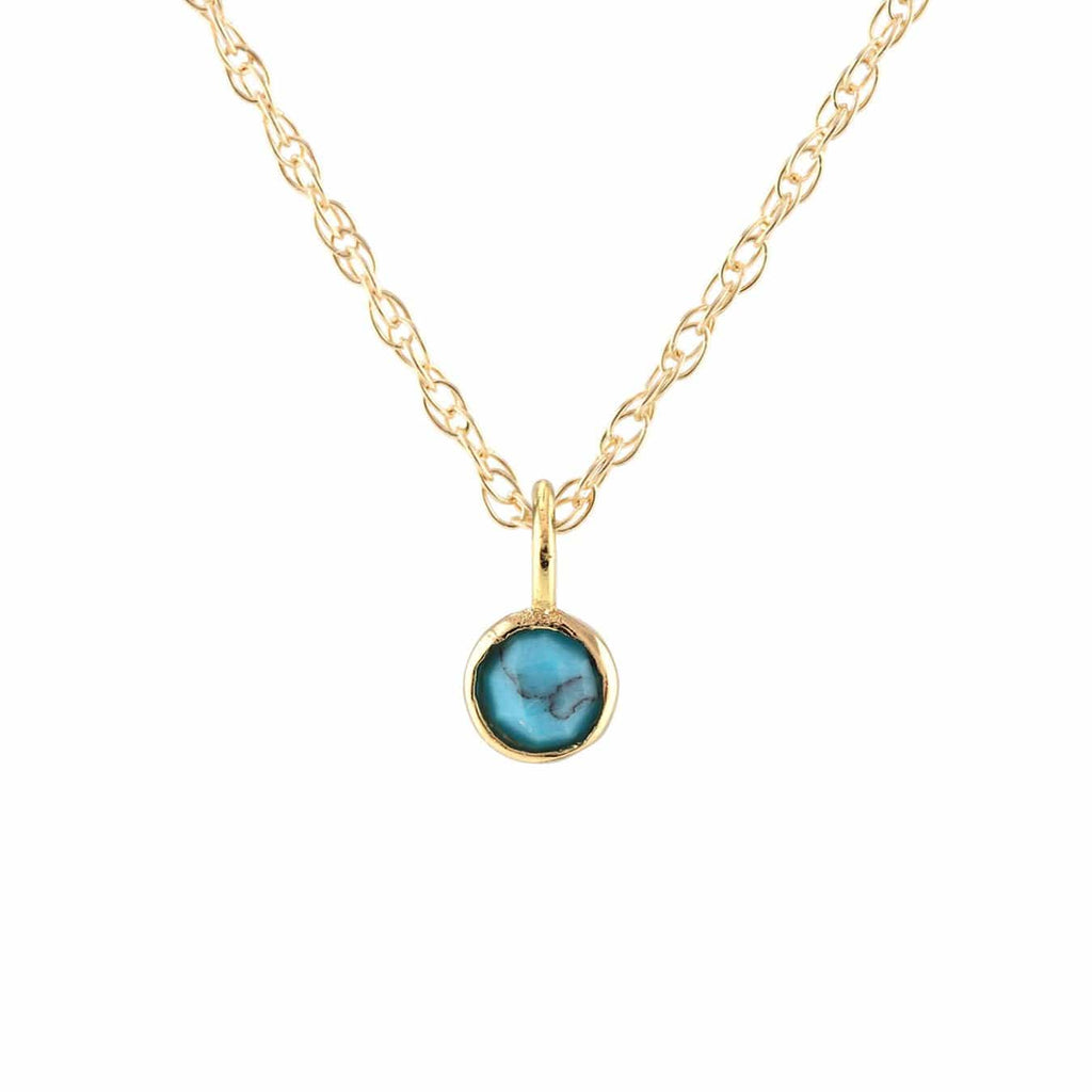 Turquoise Gemstone Charm Necklace - December Birthstone