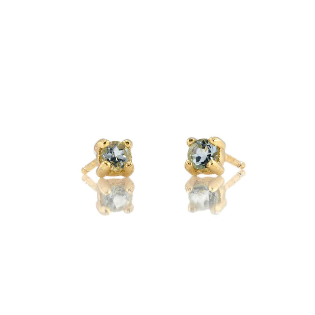 Aquamarine Prong Set Gemstone Stud Earrings - March Birthstone