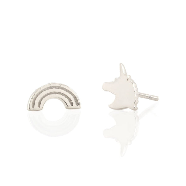 Rainbow and Unicorn Stud Earrings