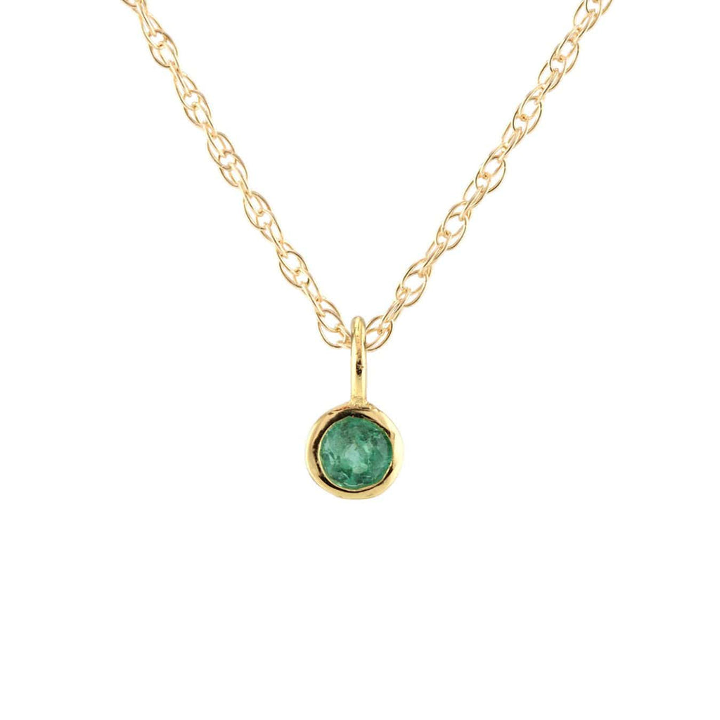 Emerald Gemstone Charm Necklace - May Birthstone
