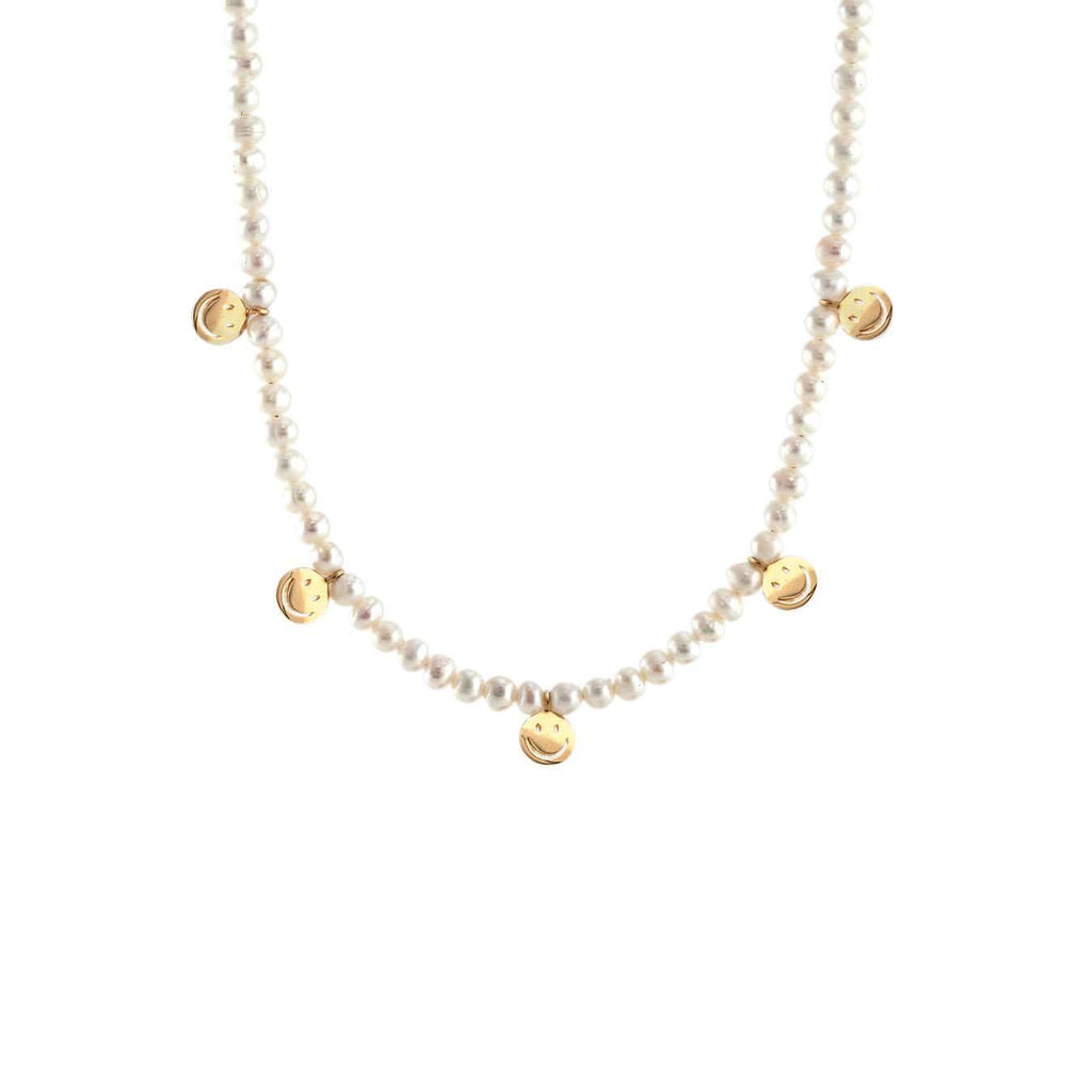 Petite Pearl Happy Face Necklace