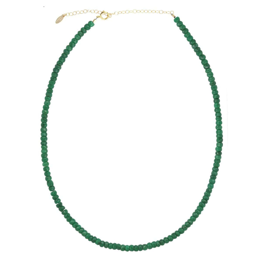Emerald Faceted Gemstone Beaded Necklace
