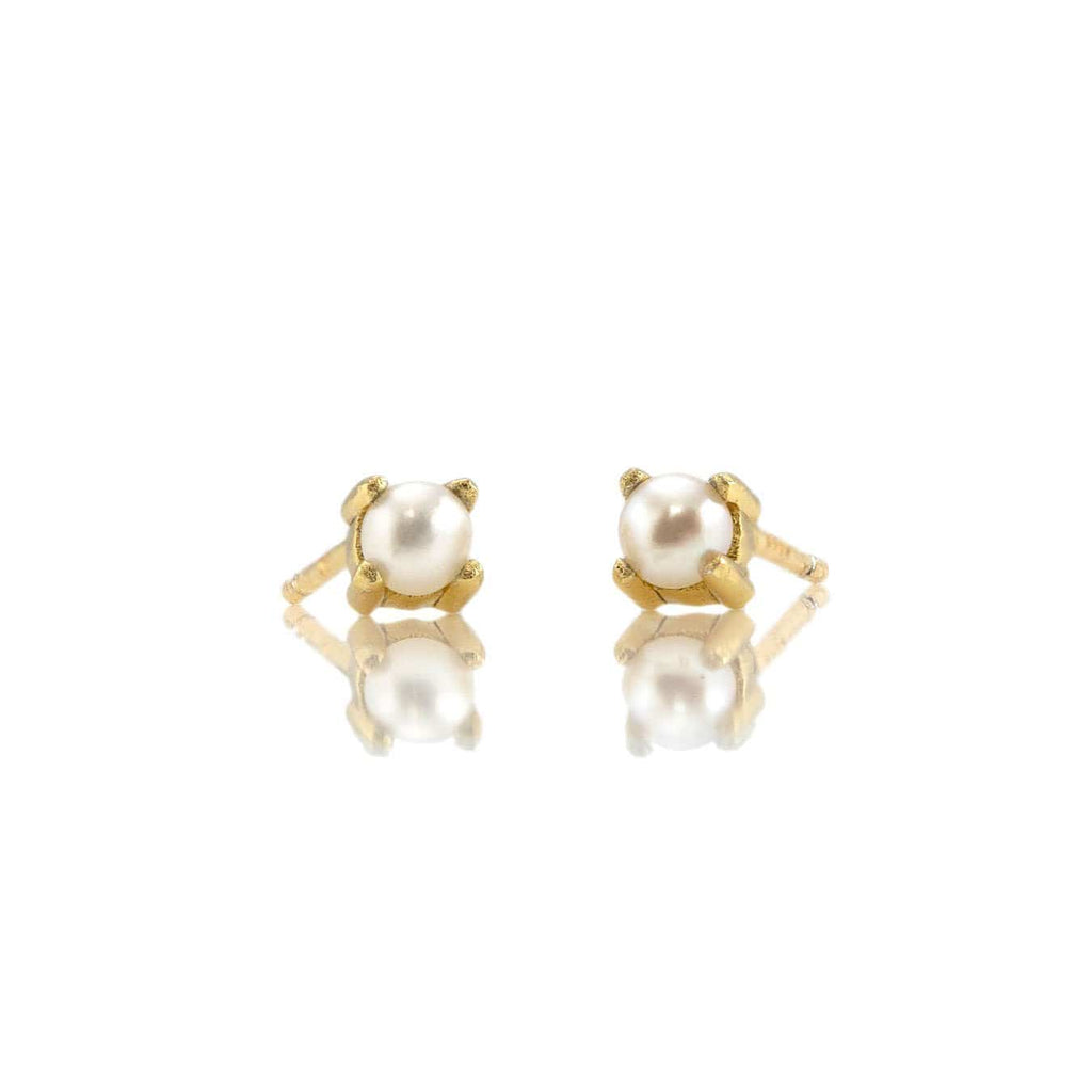 Freshwater Pearl Prong Set Gemstone Stud Earrings - June Birthstone