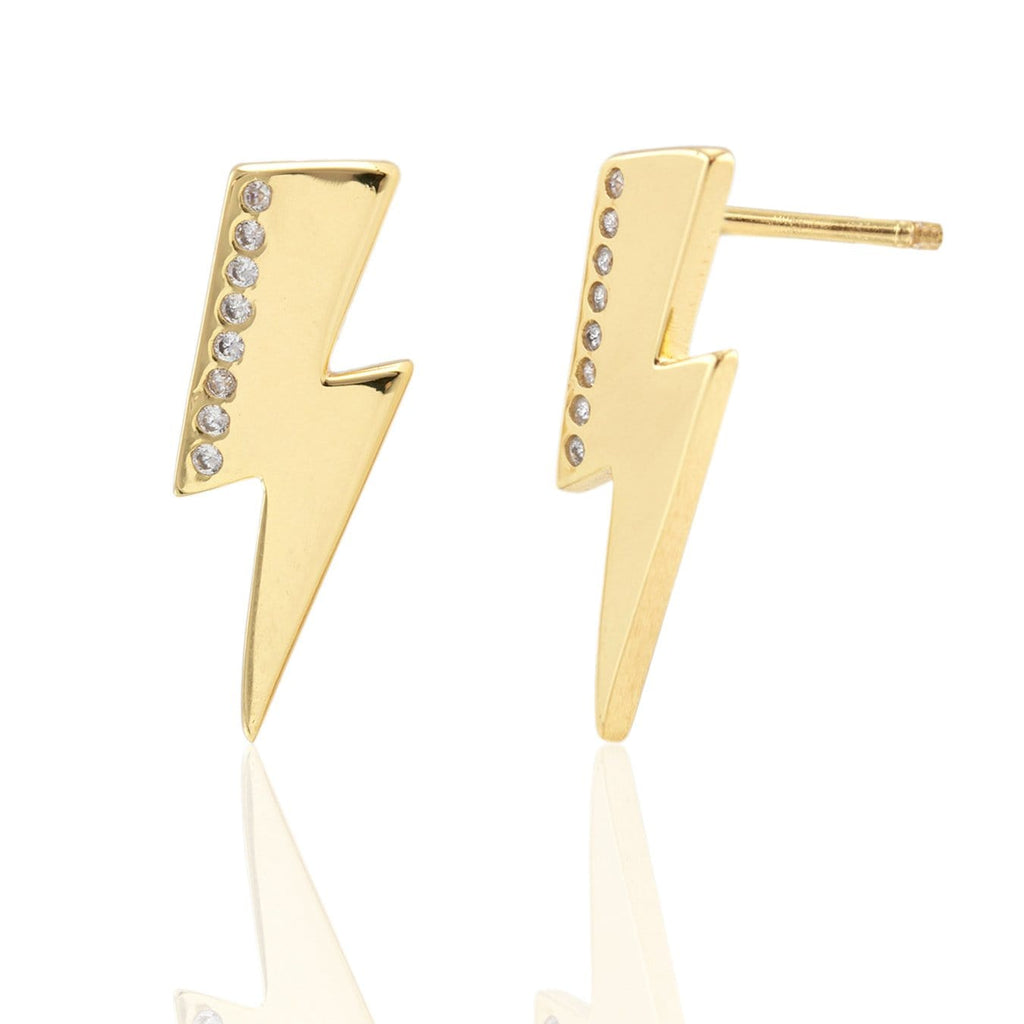 Oversized Lightning Bolt Stud Earrings with Pave
