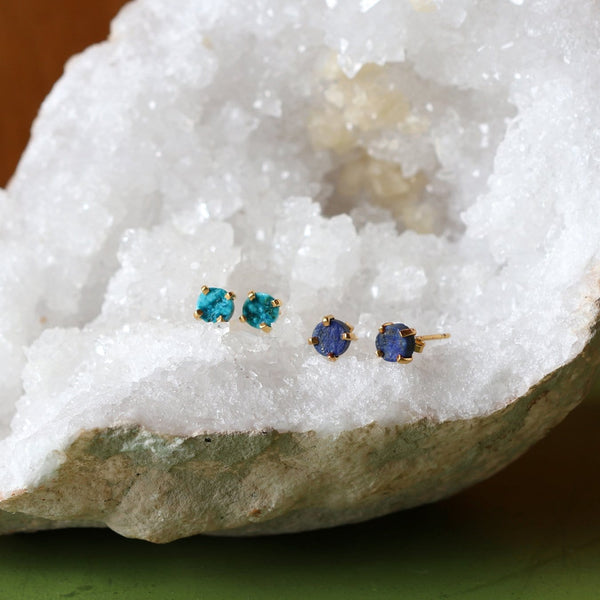 Rough Cut Gemstone Stud Earrings - Lapis