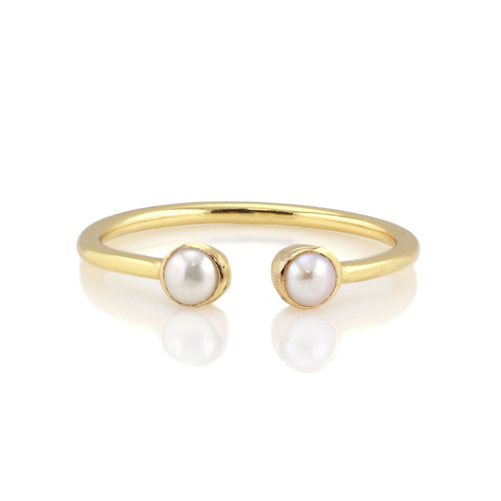 Freshwater Pearl Double Gemstone Ring - June Birthstone