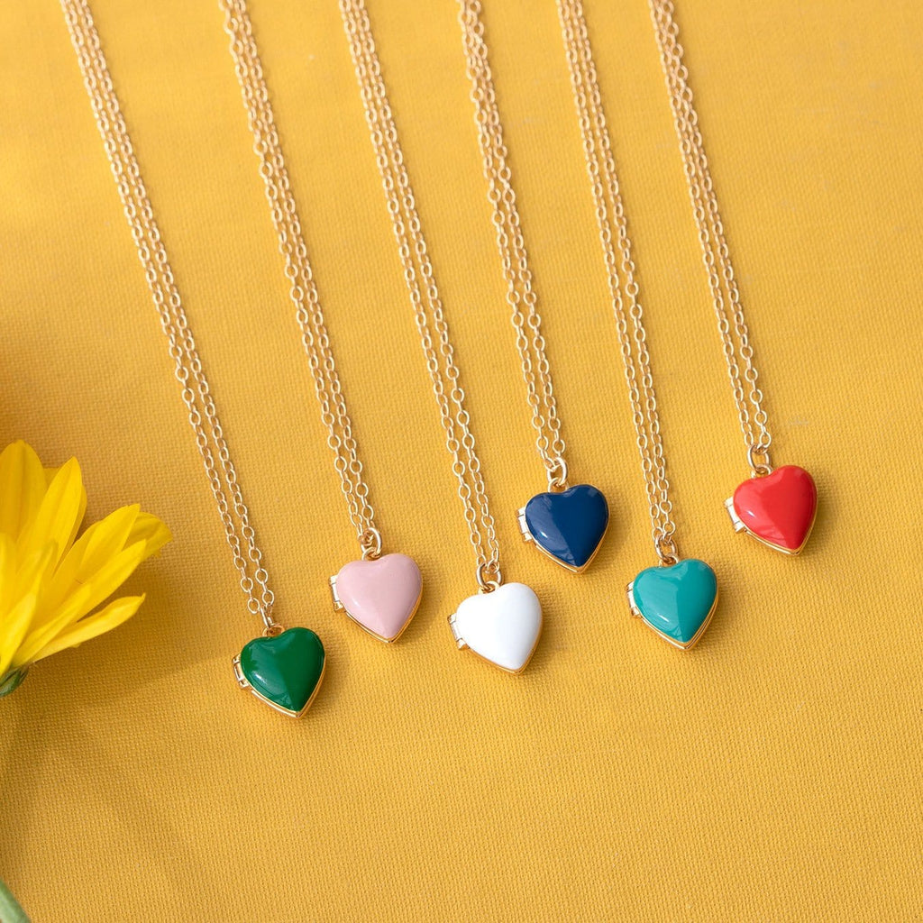 Heart Locket in gold vermeil with enamel, all colors