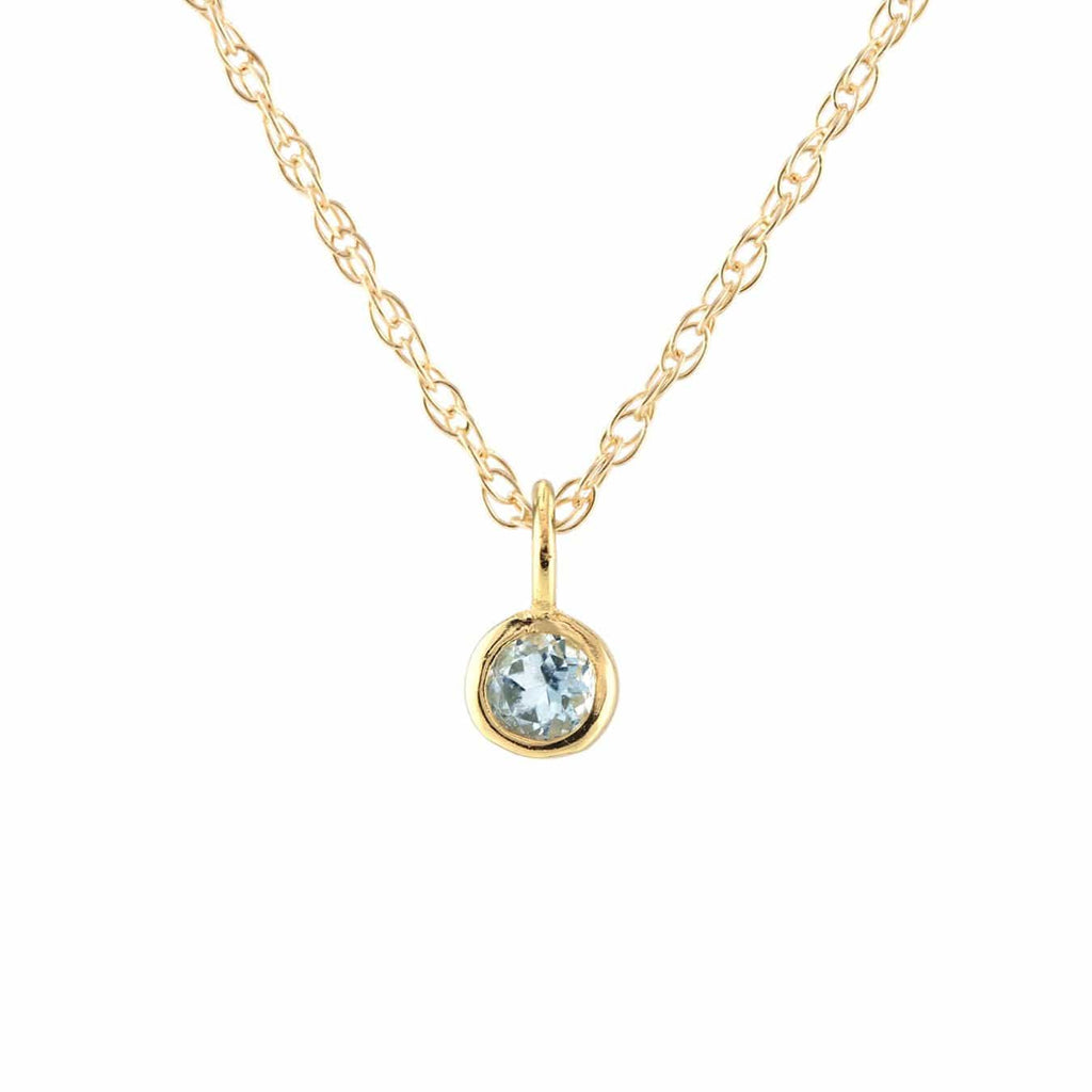 Gemstone Charm Necklace - Aquamarine