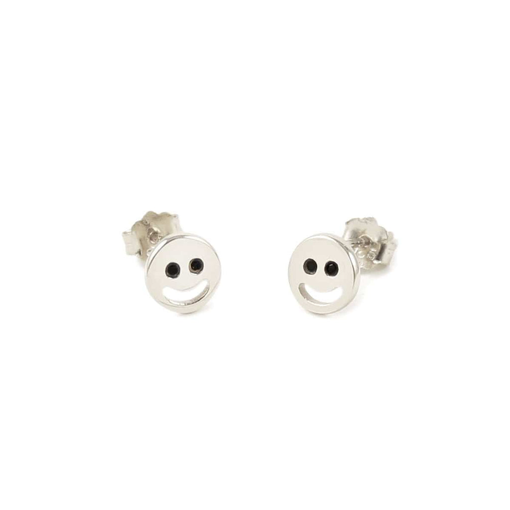 Happy Stud Earrings with Onyx Eyes
