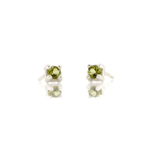 Peridot Prong Set Gemstone Stud Earrings - August Birthstone