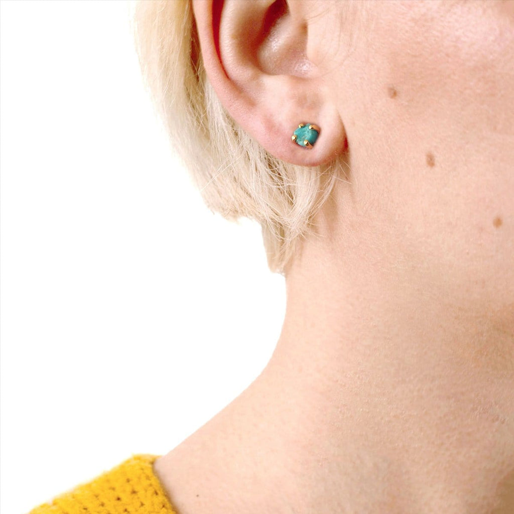 Turquoise Rough Cut Gemstone Stud Earrings