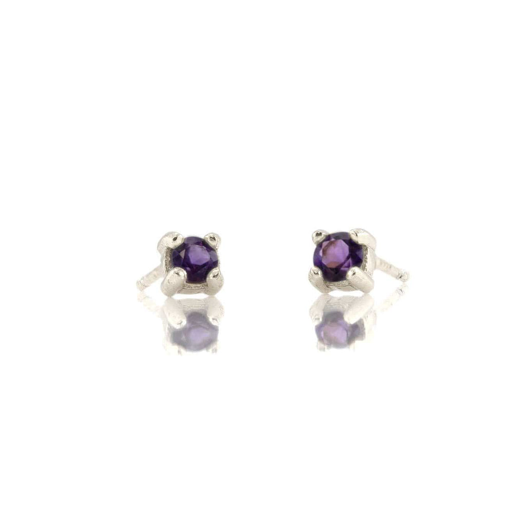 Amethyst Prong Set Gemstone Stud Earrings - February Birthstone