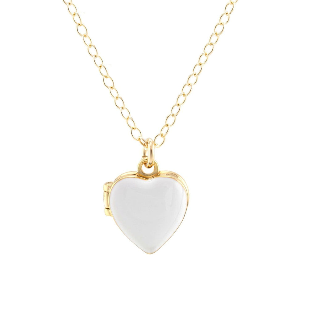 Heart Locket in gold vermeil and white enamel