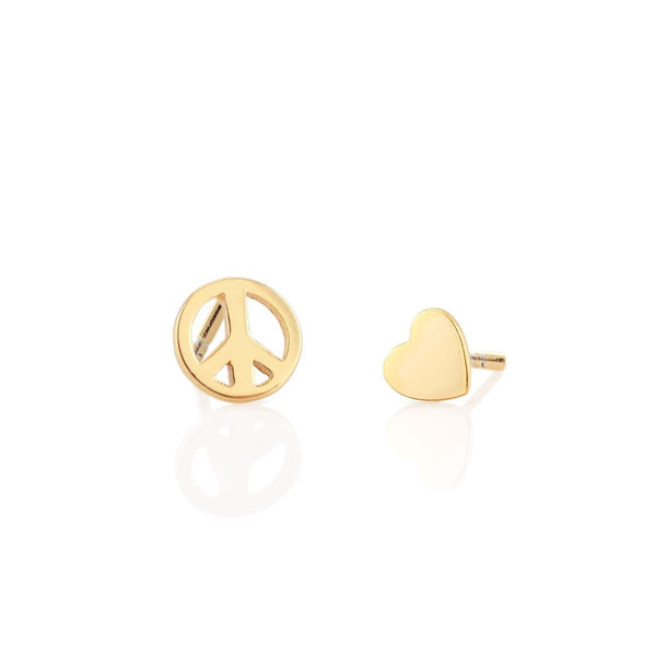Peace Sign and Heart Stud Earring