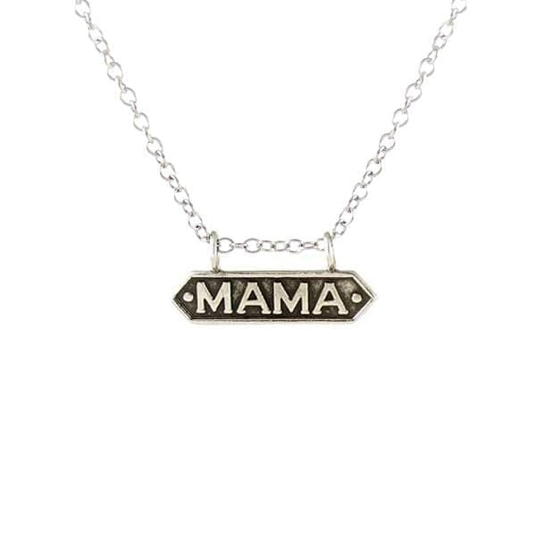 Mama Antiqued Bar Charm Necklace