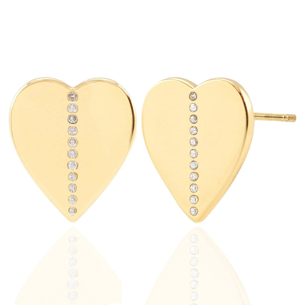Oversized Heart Stud Earrings with Pave