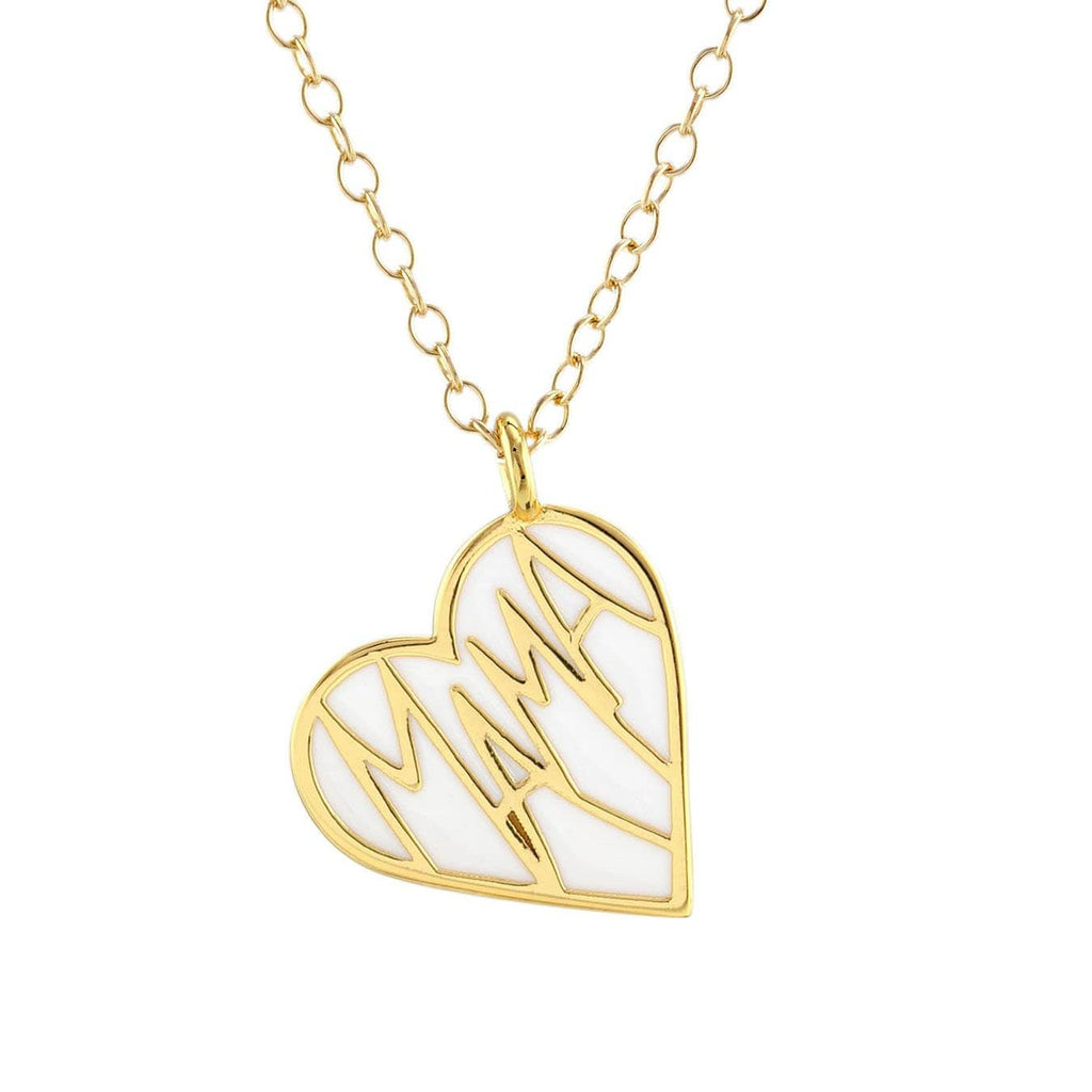 Mama Enamel Heart Charm Necklace