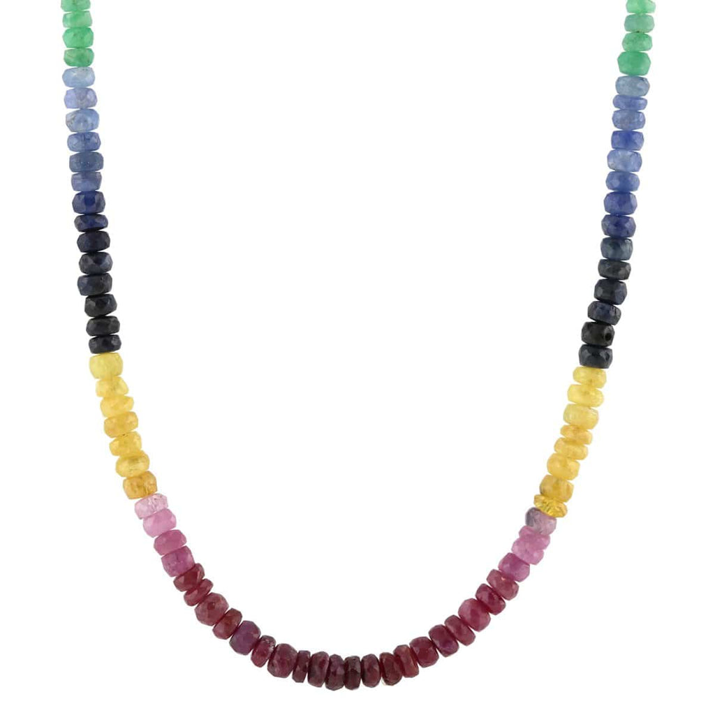 Ruby, Emerald & Sapphire Faceted Color Block Beaded Necklace