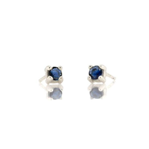Prong Set Gemstone Stud Earrings - Sapphire