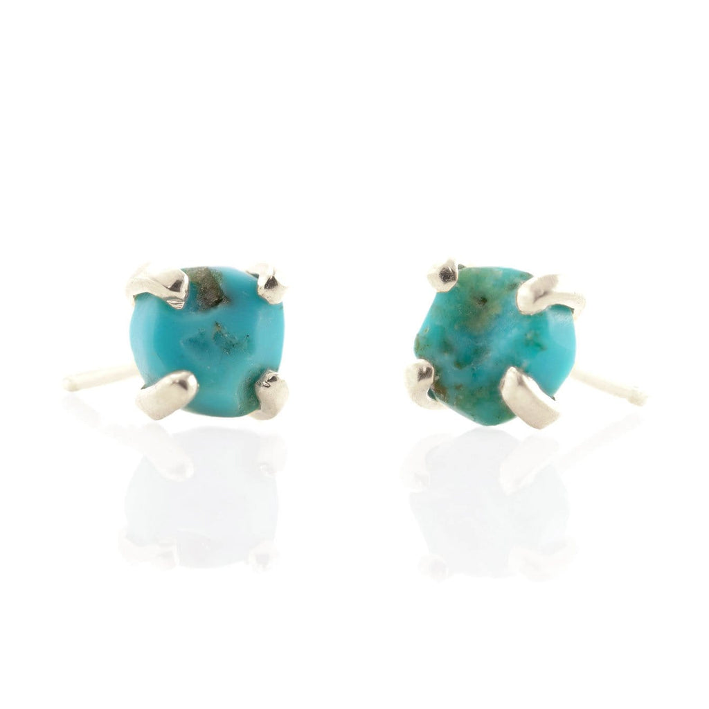 Rough Cut Gemstone Stud Earrings - Turquoise