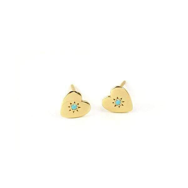 Heart Stud Earrings with Stone