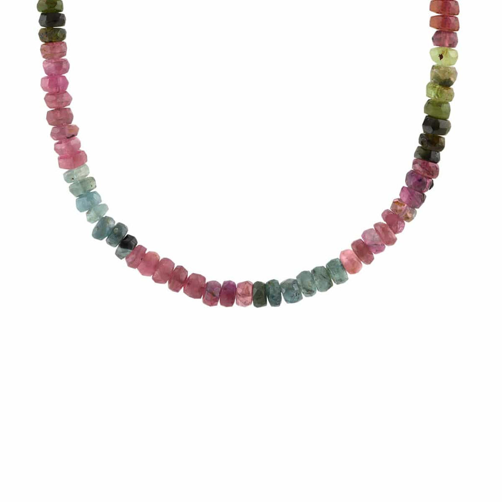 Watermelon Tourmaline Faceted Gemstone Beaded Necklace
