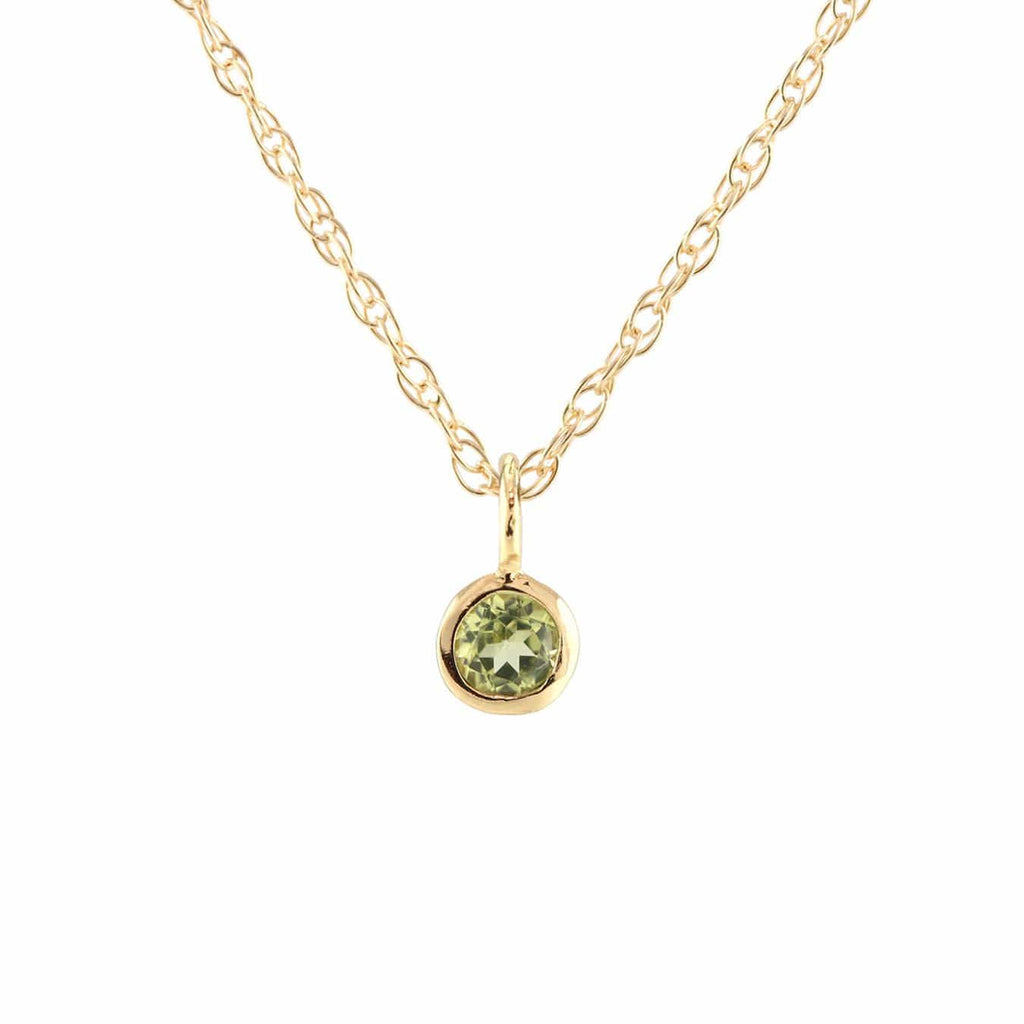 Peridot Gemstone Charm Necklace - August Birthstone