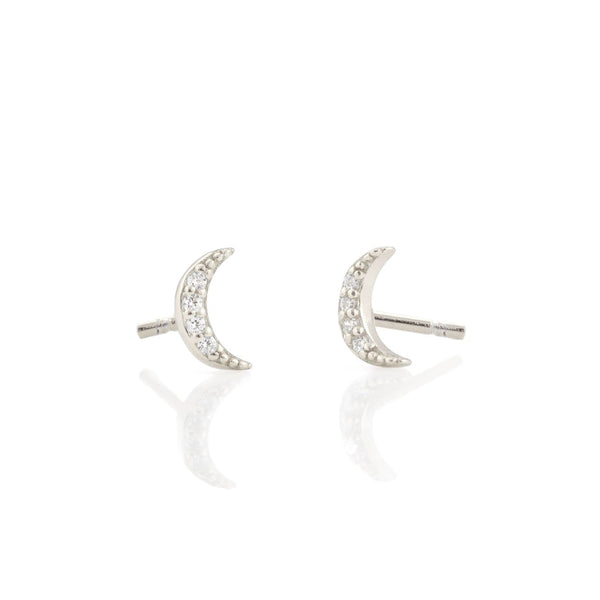 Crescent Moon Pave Stud Earrings