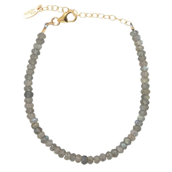 Labradorite Faceted Gemstone Beaded Bracelet