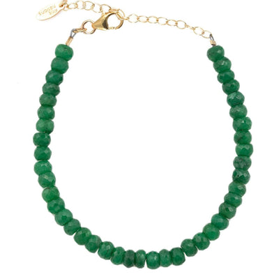 Emerald Faceted Gemstone Beaded Bracelet