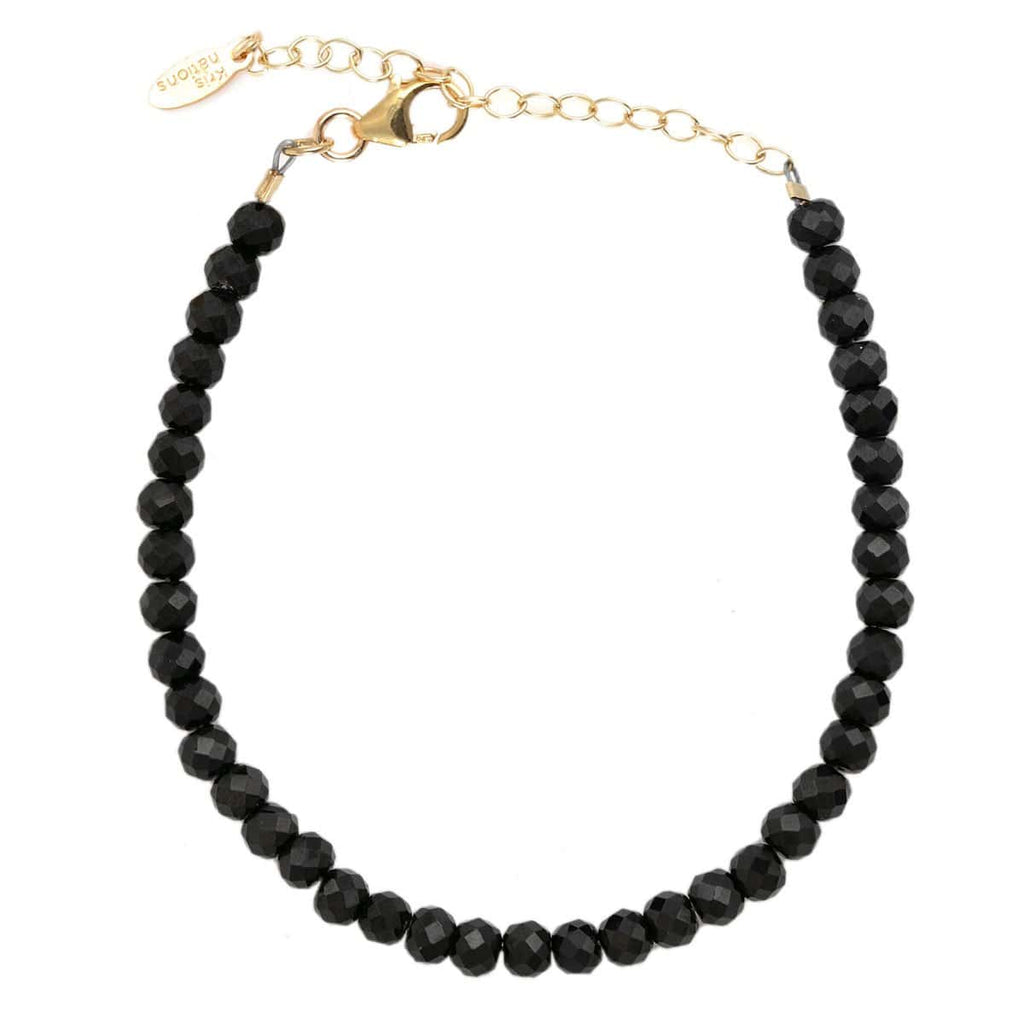 Black Spinel Faceted Gemstone Beaded Bracelet