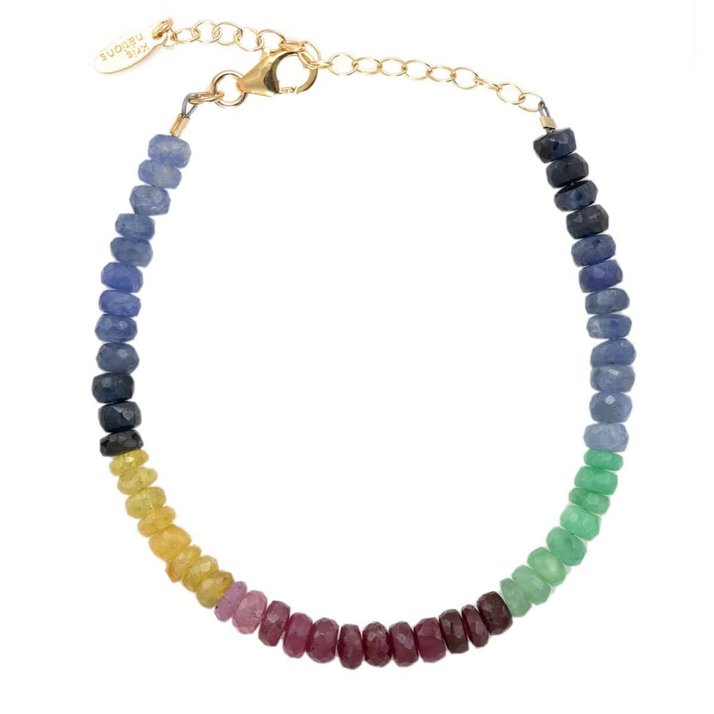 Ruby, Emerald & Sapphire Faceted Color Block Beaded Bracelet