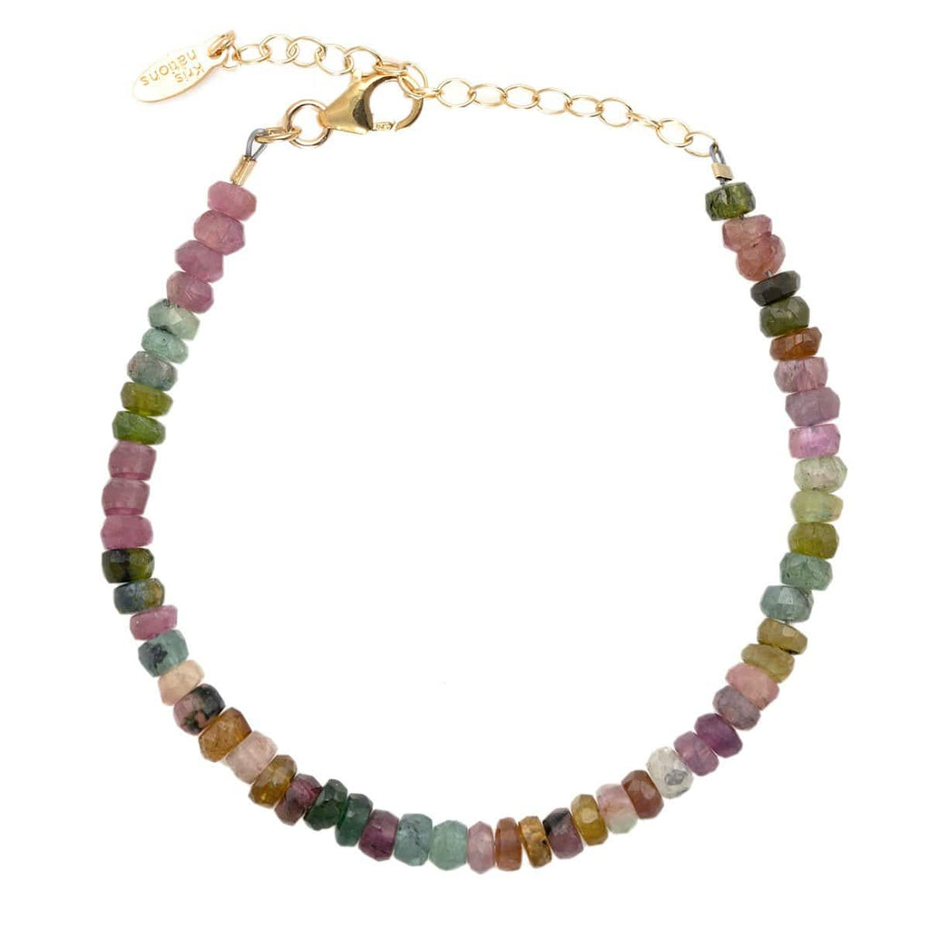 Watermelon Tourmaline Faceted Gemstone Beaded Bracelet