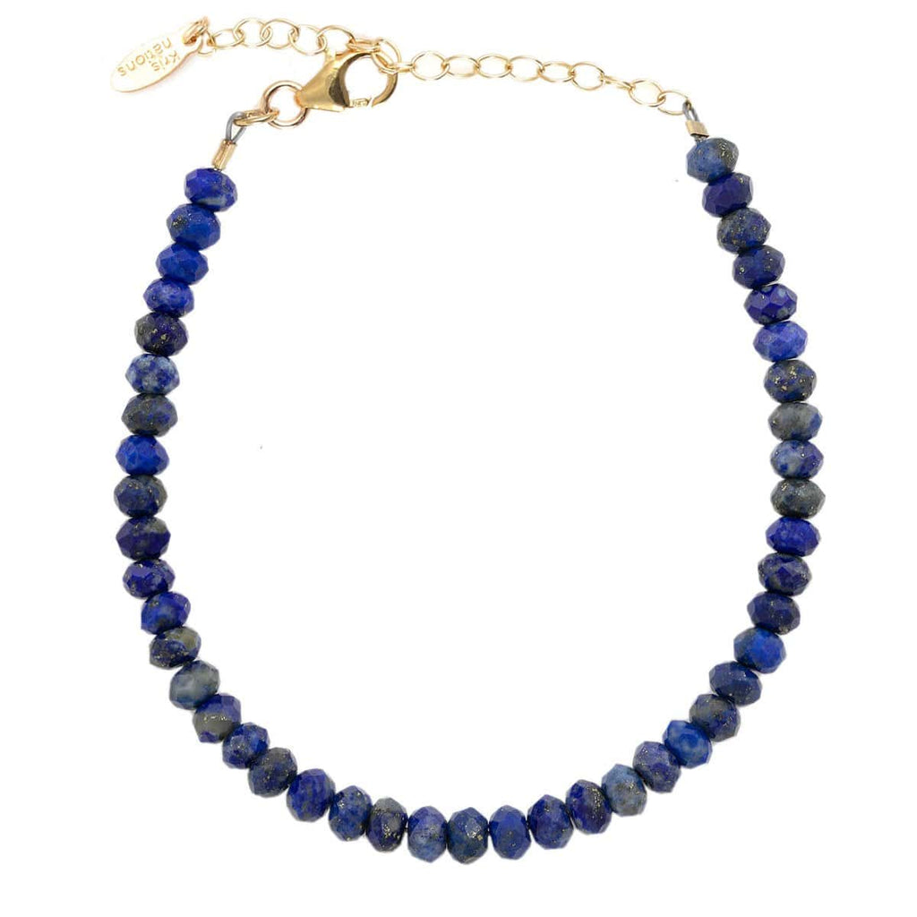 Lapis Faceted Gemstone Beaded Bracelet