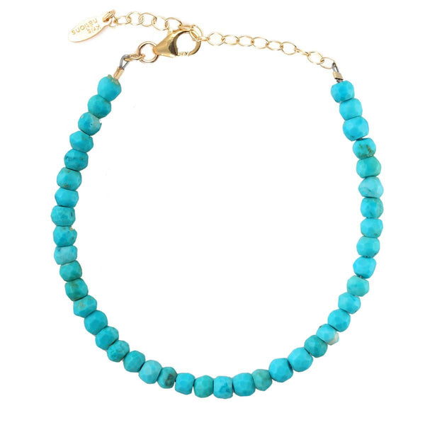 Turquoise Faceted Gemstone Beaded Bracelet