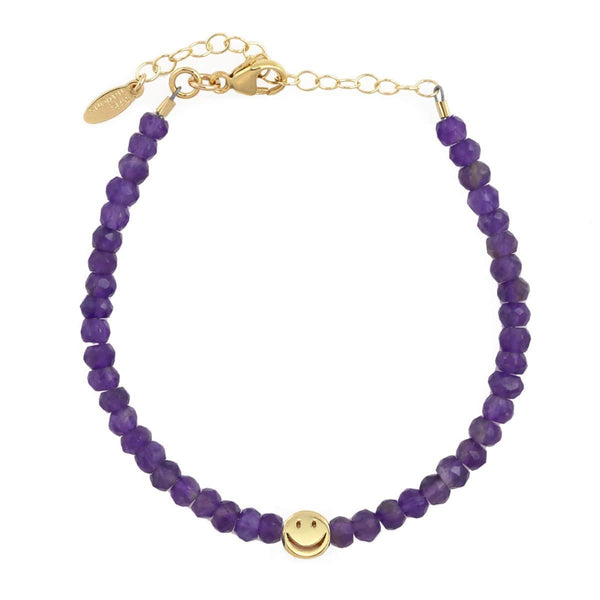 Amethyst Gemstone Happy Bracelet