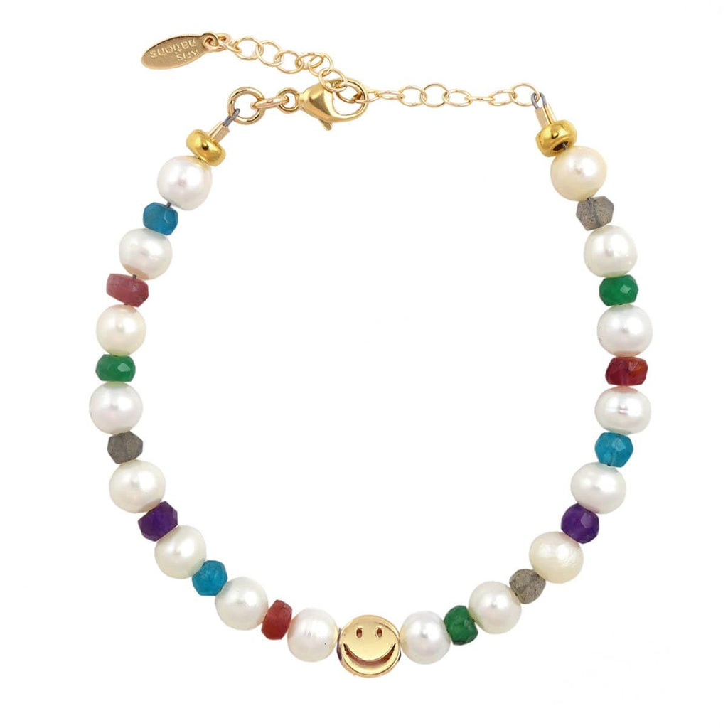 Freshwater Pearl and Mixed Gemstone Happy Bracelet