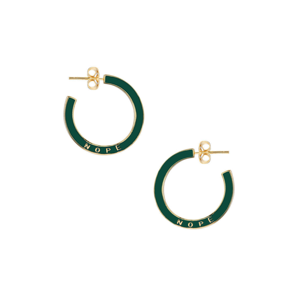 Nope Enamel Hoop Earrings
