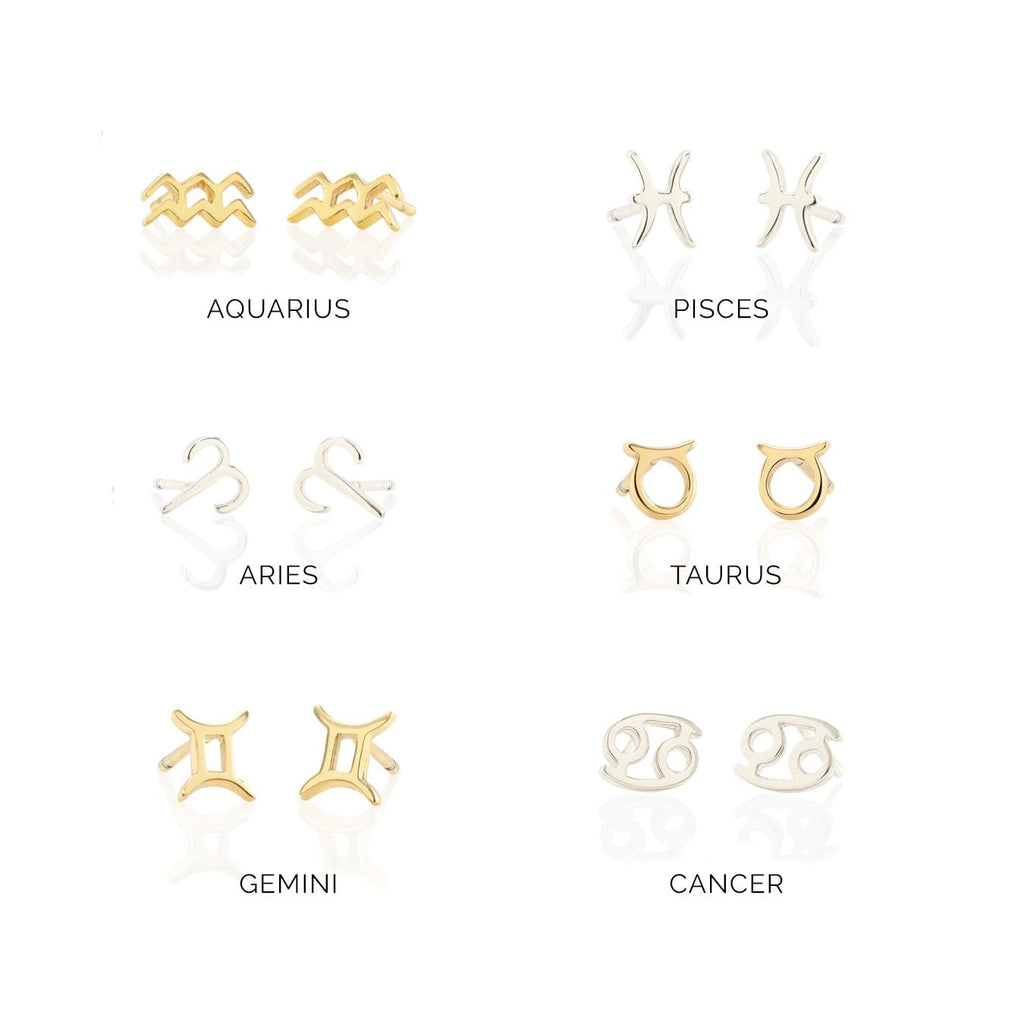 Zodiac Symbol Stud Earrings