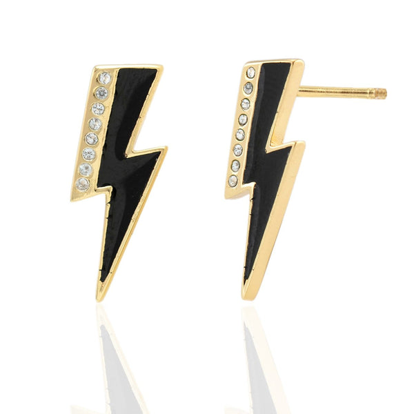 Oversized Lightning Bolt Stud Earrings with Enamel and Pave